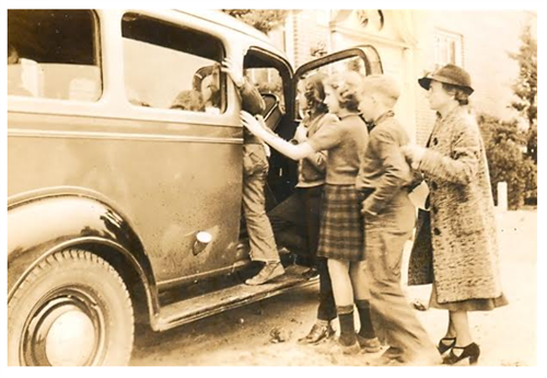 Anne E. Moncure with Mobile Library 2