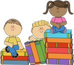 Children with book clipart
