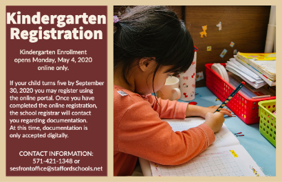 Kindergarten Enrollment opens Monday, May 4, 2020