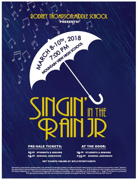 Singin in the Rain Jr. Flyer