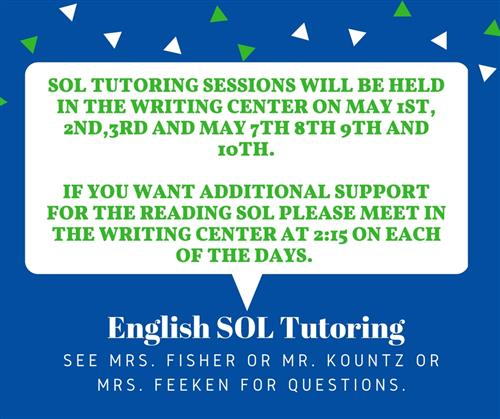 English SOL Tutring Poster