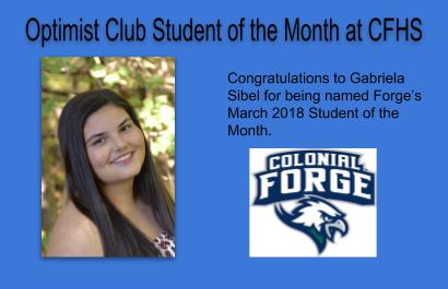 Optimist Student of the Month