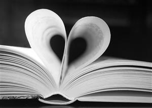 Book with Heart Shape Art in Black & White