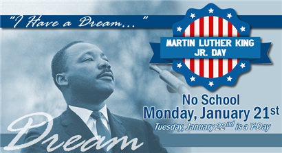 No School on Martin Luther King Jr. Day, Monday, January 21, 2019