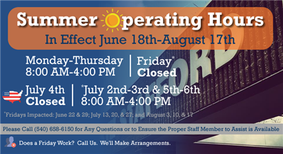 School Summer Operating Hours:  June 18, 2018 - August 17, 2018