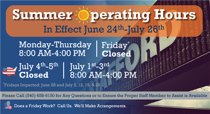 Summer Operating Hours