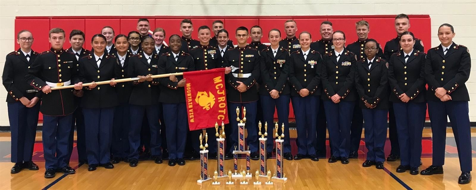 Mountain View High School MCJROTC on top