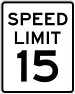 Speed Limit Sign - 15 MPH