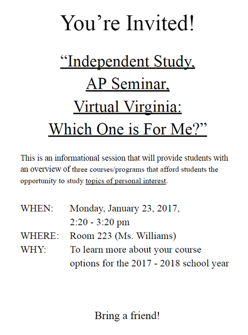 See Ms. Williams in Room 223 for more information!