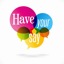 Picture of a Speech Bubble with Have Your Say Inside It