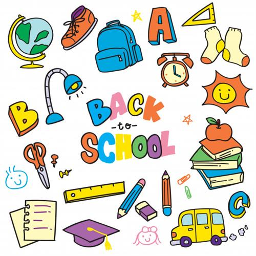 Back to School image with typical classroom and school materials such as rulers, backpacks, a school bus, etc.