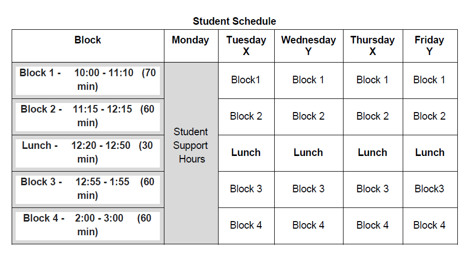 Student master schedule example