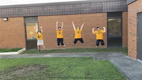 Teachers jumping