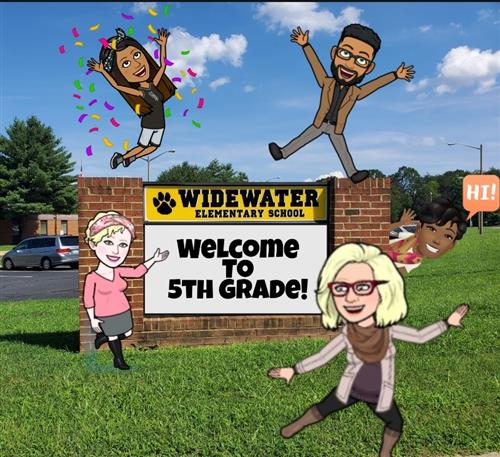 Sign that says welcome to fifth grade and cartoons of fifth grade teachers